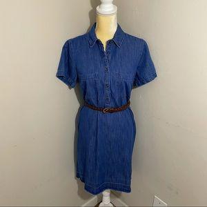 Old Navy M Tall chambray shirt dress dark wash